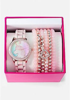 Justice is your one-stop-shop for on-trend styles in tween girls clothing & accessories. Shop our Unicorn Watch & Bracelet Set. Girls Jewelry, Cute Jewelry, Unicorn Room Decor, Justice Accessories, Unicorn Fashion, Unicorn Jewelry, Unicorns And Mermaids, Unicorn Makeup, Accesorios Casual