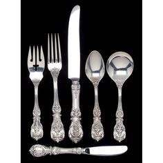 """Reed & Barton """"Francis I"""" Sterling Silver pieces, service for fourteen, including: knives in. Silver Cutlery, Sterling Silver Flatware, Silver Spoons, Sterling Silverware, Sea Glass Jewelry, Silver Jewelry, Vintage Silver, Antique Silver, Francis I"""