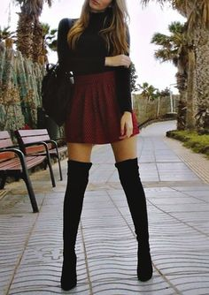 Black top, burgundy skirt, black high boots. Summer street spring women fashion outfit clothing style apparel @roressclothes closet ideas