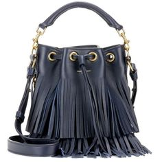Saint Laurent Small Bucket Fringed Leather Tote (11,095 CNY) ❤ liked on Polyvore featuring bags, handbags, tote bags, blue, leather handbags, fringe purse, leather purse, genuine leather tote and leather fringe purse