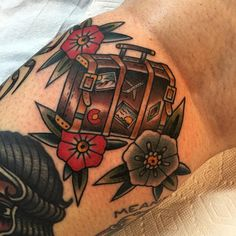 """235 Likes, 10 Comments - Jake Bray (@jakebray15) on Instagram: """"Traveling Suitcase for @heartshapedaffair Thanks so much!!! So good to see you. #tattoo #tattoos…"""""""