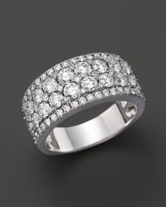 Diamond Cluster Band Ring in 14K White Gold, 2.0 ct. t.w.