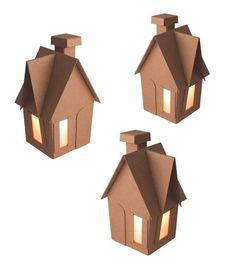 DIY Kit: Iddie Biddie *Chipboard* Gingerbread Houses by RetiredLetsDoLunch, $5.40 for set of 3