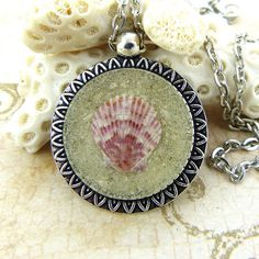 Scallop Seashell Pendant Necklace with by FloridaShellGirlShop