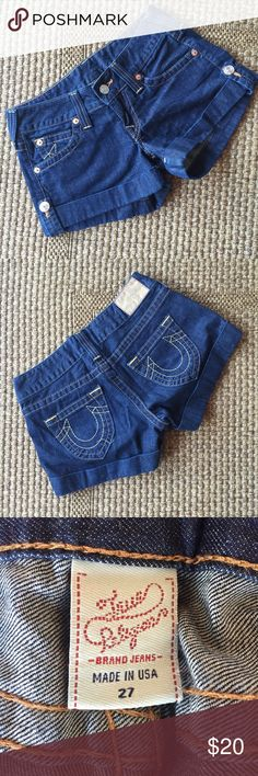 True Religion Shorts Bought these bad boys on sale for $50! Love them but just don't fit me anymore! In perfect condition. True Religion Shorts Jean Shorts