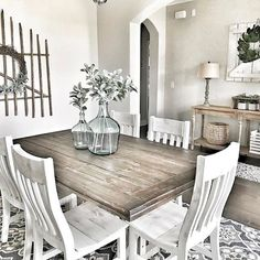 Adorable 60 Rustic Farmhouse Dining Room Furniture and Decor Ideas https://decorapatio.com/2017/07/14/60-rustic-farmhouse-dining-room-furniture-decor-ideas/