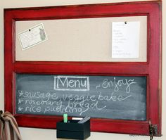 Becky took this old cupboard door, turned it horizontal & popped out the glass.... with some paint, hooks, chalkboard and bulletin board, she turned it into a Message Center!