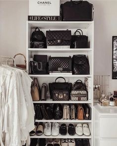 Sucks to be sick, but at least I'm in good company at home. ✨ I promise an updated bag collection video will be up as soon as fashion month… Bag Closet, Closet Bedroom, Bedroom Decor, Handbag Organization, Home Organization, Handbag Organizer, Beige Chanel Bag, Bag Display, Luxury Closet