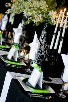 Tablescapes table setting black white and lime green modern tablescape