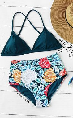 Calico Print High Waist Mixed And Match Bikini Set http://amzn.to/2sBWArl