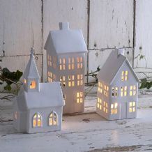 Petit village tealight houses and church £10 off