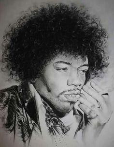 Jimi Hendrix węgiel na formacie A4