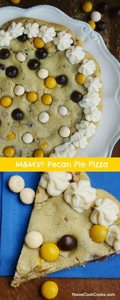 Soft & Chewy Sugar Cookie Crust stuffed with M&M's Pecan Pie & Pecans and served with a dreamy Creamy Cream Cheese Icing.#desserts #pecans #pecanpie #dessertpizza #pizza #holiday #recipes