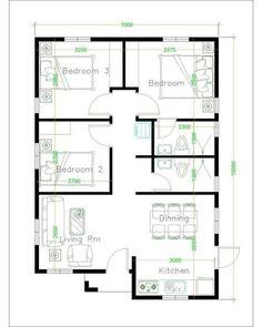 2bhk House Plan, Three Bedroom House Plan, Model House Plan, Duplex House Plans, House Layout Plans, House Floor Design, Home Design Floor Plans, Simple House Design, Bungalow Floor Plans
