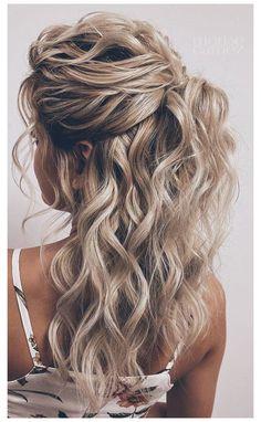 Half Up Wedding Hair, Wedding Hairstyles Half Up Half Down, Long Hair Wedding Styles, Wedding Hair And Makeup, Bridal Hair, Half Up Hairstyles, Curly Hair Half Up Half Down, Hairstyles Videos, Hairstyle Short