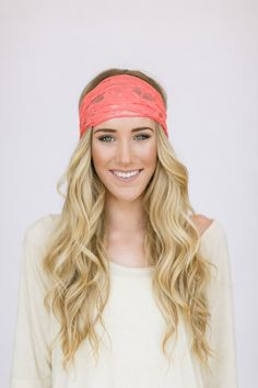 Coral Lace Headband Stretchy Wide Lace Turband by ThreeBirdNest, $18.00