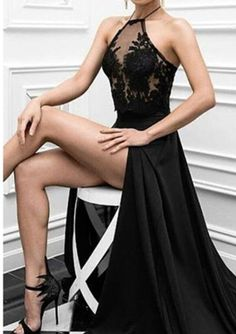 Sexy Black Evening Gowns Charming Prom Dress, Sexy Prom Dress,Black Prom Dress,High Slit Evening Dress,Long Evening Dresses · meetdresse · Online Store Powered by Storenvy Simple Evening Gown, Evening Dress Long, Black Evening Dresses, Black Prom Dresses, Sexy Dresses, Dress Black, Evening Party, Chiffon Dresses, Satin Dresses