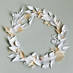 Log in to your Etsy account. Door Wreaths, Paper Wreaths, Book Crafts, Paper Crafts, Winter Leaves, Craft Night, Holiday Wreaths, Xmas, Christmas