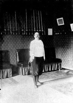 """: """"I call 'monster' every original inexhaustible beauty,""""  The last known photograph of Alfred Jarry, at a fencing academy, 1906 by reva"""
