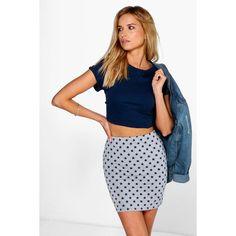 Boohoo Amal Star Print Mini Skirt (67 HRK) ❤ liked on Polyvore featuring skirts, mini skirts, grey, short skirts, grey midi skirt, gray skirt, midi skirt and short mini skirts