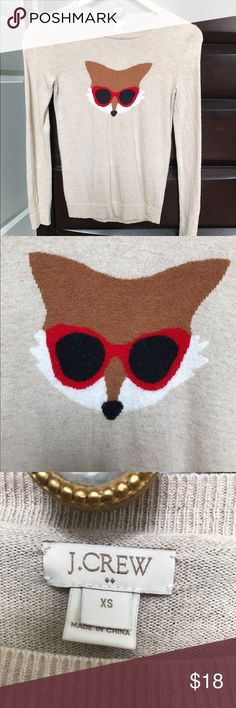 J Crew Factory Fox Sweater XS J Crew Factory Holiday 2015 line.  Worn once, washed gentle cycle and line dried.  37% Viscose 35% Nylon 28% Merino Wool J. Crew Factory Sweaters Crew & Scoop Necks