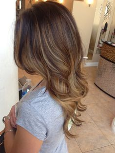 ash brown hair with caramel balayage highlights