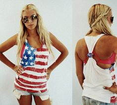 create your own American flag tank top with a large, white t-shirt, fabric dye, stencils, and strips of tape. outfit for the next fourth of july!