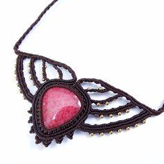 Macrame Necklace Pendant Cabochon Rhodonite Stone Cotton Waxed Cord Handmade #Handmade #Pendant