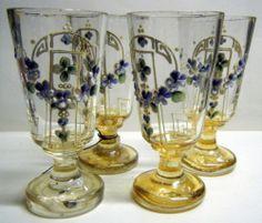 Antique Biedermeier Handpainted Glasses 1830 50 | eBay