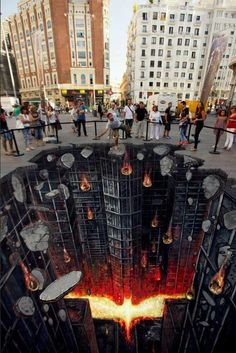 A cool 3D The Dark Knight Rises piece of street art in Madrid.