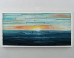 Abstract Landscape Painting on Wood Abstract by ModernRusticArt