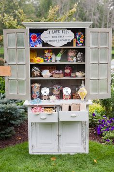 Up the vintage feel of a candy bar by putting it into an antique hutch. Lolly Buffet, Candy Buffet, Chic Wedding, Our Wedding, Wedding Ideas, Wedding Album, Wedding Updo, Wedding Things, Wedding Details