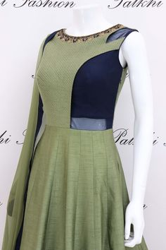 Designer Mehendi Green /Navyblue Color Soft Silk Handwork Outfit