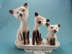 Vintage Siamese Cats Salt and Pepper Shaker, 4 pc Cat Set, Feline Salt Pepper, Toothpick Holder, Ceramic Tray , Kitten SP Shaker, Kitty Cats by TheSaltandPepperShop on Etsy