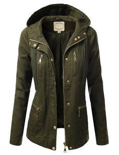 J.TOMSON Womens Trendy Military Cotton Drawstring Jacket at Amazon Women's Clothing store: Army Fatigue Jacket