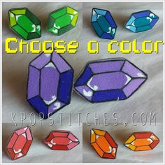 Rupee Zelda hand drawn plastic post earrings Legend of Zelda gem five colors by KpopStitches on Etsy