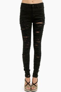 Tobi | Destroyed Skinny Jeans: Black - $54