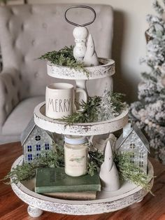 Easy DIY Indoor Christmas Decor and Display Ideas, Ways To Decorate Your Tiered Tray For Christmas, Kitchen Counters, or Fireplace Mantle Decorating, Christmas Decor Farmhouse Christmas Decor, Country Farmhouse Decor, French Country Decorating, Farmhouse Ideas, Farmhouse Front, Christmas Kitchen, White Christmas, Home Depot, Round Wooden Tray