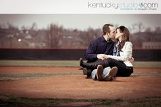 engagement photo-- baseball diamond