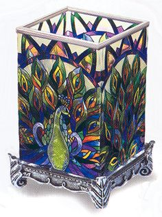 """""""Peacock Vase Votive""""  Exciting brilliant colors inspired by the ancient Chinese cloisonné art. Hand painted."""