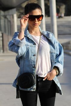 Denim jacket from Levis Handbag from Gucci Celine shadow sunglasses. More pictures on my blog. Levis, My Outfit, About Me Blog, Bomber Jacket, Gucci, Jackets, Pictures, Outfits, Photos
