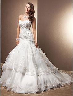 Trumpet/Mermaid Sweetheart Chapel Train Organza And Lace Wedding Dress - USD $ 197.99