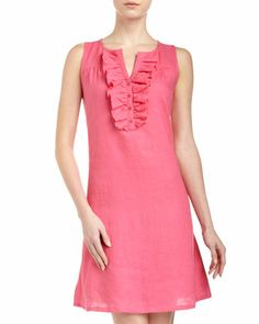 Ruffle Linen Dress, Pink Punch by Neiman Marcus at Last Call by Neiman Marcus.