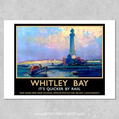 Print of London and North Eastern Railway Whitley Bay poster. Frank Mason, Places To Travel, Places To Go, Railway Posters, Vintage Travel Posters, Newcastle, Resorts, Seaside, Poster Prints