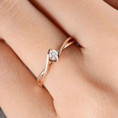 So elegant! Rose Gold Engagement Ring Solitaire Diamond Infinity Curved