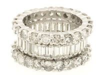Heavy platinum 9.36ct 3 row diamond eternity band ring size 6.5