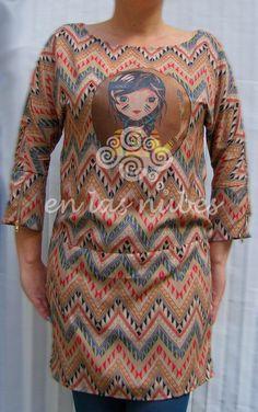 EN LAS NUBES: Vestido inspiración étnica ilustrado
