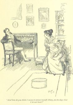 """British Library digitised image from page 231 of """"Mansfield Park"""" Jane Austen Mansfield Park, Jane Austen Novels, Classic Literature, British Library, Pride And Prejudice, Romance, Illustration Art, Book Illustrations, Book Art"""