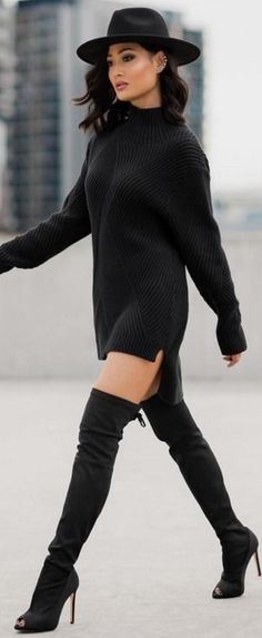 Total Black Sweater Dress Winter Street Style ||Micah Gianneli — So excited about my collab with Windsor Smith !!... #total
