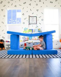 Boy Room, Kids Room, Couch With Ottoman, Infant Activities, Baby Activites, Boys Wallpaper, Patio Umbrellas, Reading Nook, Playroom Ideas